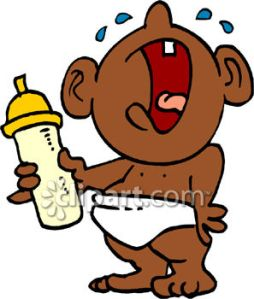 0060-0807-2818-1130_African_American_Baby_Crying_and_Holding_a_Bottle_clipart_image